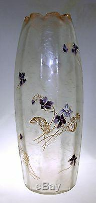 Legras Mont Joye 13 Cameo Vase Violets Frosted Chipped Ice Decor