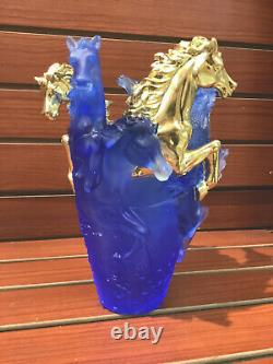 Magnificent Nancy Daum Style Horse Vase With Gold Accent Maker Unknown