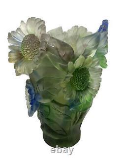 Magnificent Nancy Daum Style Pate De Verre Grenn Multi Sunflower Vase H 9 /w9lb