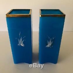 Magnificent Pair Of Baccarat Azure Blue Opaline And Enamel Crane Vases