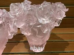 Magnificent Pate De Verre Pink Rose Vase 19/19/22cm Heavy 6.8 Signed France back