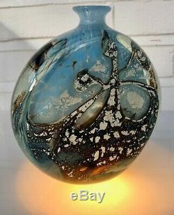 Michele Luzoro Studio Art Glass Large Heavy Bottle Vase Signed Stunning