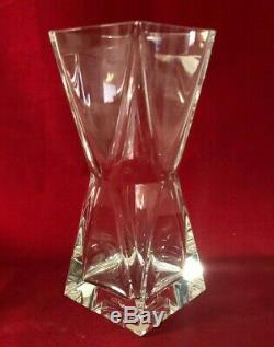 Mint Baccarat French Tall Thick Heavy Crystal Art Glass Flower Large Vase 7 7/8