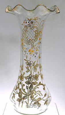 Mont Joye Legras Rococo Gold Decorated Ruffled Top 11 Vase