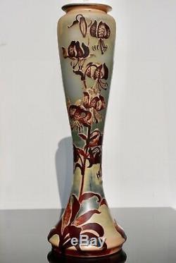 Monumental Art Nouveau Emile Galle Tiger Lily Cameo Vase 24