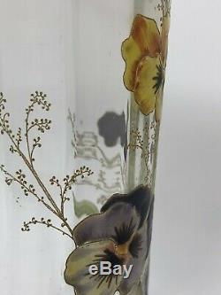 Moser or Legras Mont Joy Enameled Glass Art Nouveau Pansy Vase