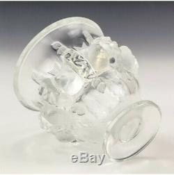 NEW Lalique France Dampierre French Frosted Crystal Mantle Display Glass Vase