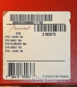 NEW- Stunning Baccarat Oval Eye Crystal Vase withbox, Ribbon & Pamphlet
