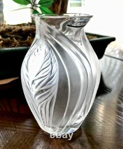 NEW Undamaged Lalique Pavie Vase 5 Tall French Crystal Signed Authentic Frosted