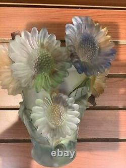 Ombré Multi Color Sunflower Nancy Daum Style Vase 21/21/19cm Heavy Glass Art