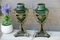 PAIR antique French Vases urns LOETZ green opalescent glass ram heads