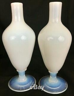Pair 1920's Vintage French Sevres France Opalescent Art Glass Vases