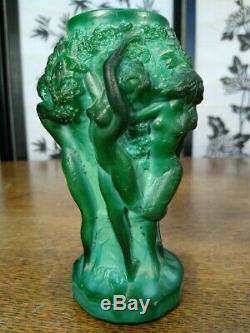 Pair 1930's Art Deco Jade Malachite Vase Nude Ladies Bacchantes By H. Hoffmann