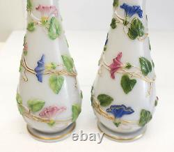Pair Baccarat French Opaline Enamel Hand Painted Glass Vases, circa 1900