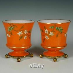 Pair French Baccarat Opaline Glass Vases Hand Painted Enamel Gilt Bronze Base