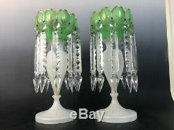 Pair French Opaline Glass Mantle Victorian Luster White Green Prisms Large