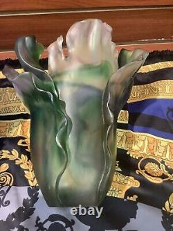 Pate De Verre Nancy Daum Style Ginkgo Green Multi Color Vase H19 Cm Signed