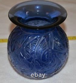RENE LALIQUE CRYSTAL VASE RARE NYMPHALE 1992 SAPPHIRE BLUE 8.5' MINT BUTTERFlIES