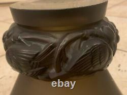 R LALIQUE PINSONS Glass Crystal Birds Vase Smoky Topaz Signed Rene