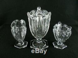 Rare Art Deco BACCARAT Harcourt Crystal Glass Set Vase, Sugar Bowl & Milk Jug