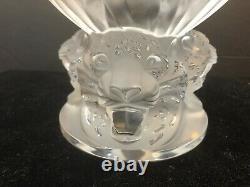 Rare Fabulous Lalique Crystal Three (3) Jaguars Vase MINT withBox & Base Pads