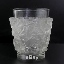 Rare French 1938 Rene Lalique Frosted Crystal Glass Bacchus Fauns Among Ivy Vase