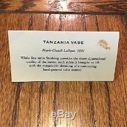 Rare Hard to Find LALIQUE Black & White Enameled Zebra TANZANIA Vase with COA