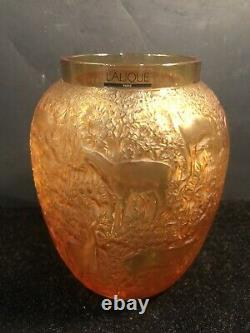 Rare Lalique Crystal Amber Biches Deer Vase MINT Original Labels Base Pads