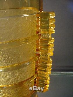 Rare Pierre D'Avesn Amber Art Deco Banded Glue Chip Vase Daum Freres France 1935