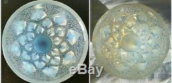 Rare Rene Lalique France Blue Cream Opalescent Glass Vase Rampillon Circa 1927