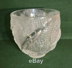 Rare Vintage Lalique French Andromeda Fish Scale Centerpiece Vase 6 Inches