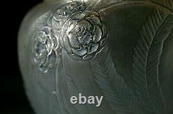 Rene Lalique Nefliers Glass Vase With Blue Staining, Circa 1923