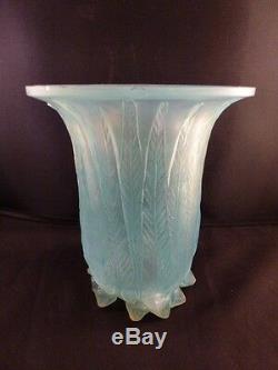 Rene Lalique c 1925 R. Lalique Eucalyptus Vase Opalescent with Turquoise Patina