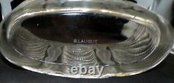 Rene R. Lalique France Signed Terpsichore Nudes Large Heavy Art Glass Vase 1937