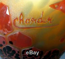 STUNNING V. RARE CHARLES SCHNEIDER HAND CARVED CAMEO GLASS VASE with BUTTERFLIES