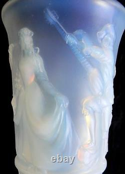 Sabino style blue opalescent LARGE art glass vase Menuet France