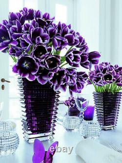 Set Of-3 Rectangle Heavy Baccarat Eye Crystal Style Vase H12 Clear, purple, blue