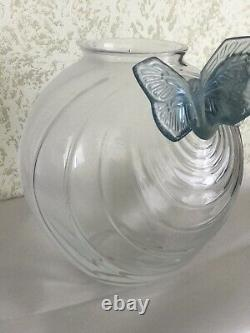 Set Of Lalique Clear & Frosted Glass Butterflies Vase 8 And Figures But