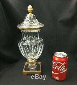 Signed Baccarat Bronze Ormolu Crystal Lidded Vase / Urn