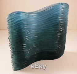 Signed Daum Blue Pate de Verre Glass Lean Narrow Wave Vase, beautiful design