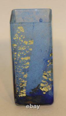 Signed Daum Nancy France 4-3/4 Inch Blue Glass with Gold Flake Square Bud Vase