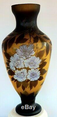 Signed Galle Acid Etched Cameo Vase / Original Guaranteed Authentic