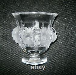 Signed Lalique France BIRDS Frosted Crystal Art Glass Mantle Dampierre Vase