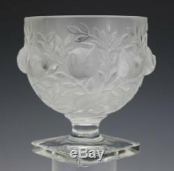 Signed Lalique France Crystal Elizabeth Frosted Birds & Floral Art Glass Vase