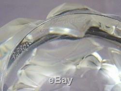 Signed Lalique France Crystal Hedera Vase Ivy Leaf 6 7/8 H Frosted Clear Glass