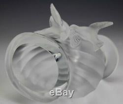 Signed Lalique France Crystal Rosine Frosted Birds Slanted Rib Art Glass Vase