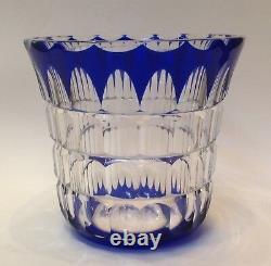 St Saint Louis French Cut Crystal Cobalt Blue Vase Art Deco C1925 Paris France