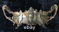 Stunning Antique Marked French Gilt Spelter Rams Head Jardiniere