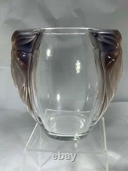Stunning Rare Lalique French Crystal Glass Amethyst Clematis Vase