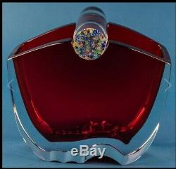 Thomas Bastide for Baccarat Oceanie Red & Clear Glass Vase with Millefleur Glass